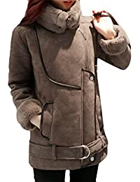 495295592c9 JWK Womens Winter Warm Suede Turtle Neck Loose Jacket Parka Outwear