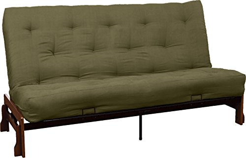 Bali 8-Inch Loft Inner Spring Futon Sofa Sleeper Bed, Queen-size, Walnut Arm Finish, Microfiber Suede Olive Green Upholstery
