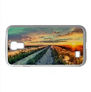 Long Road In Montana Watercolor style Cover Samsung Galaxy S4 I9500 Case (Montana Watercolor style Cover Samsung Galaxy S4 I9500 Case)