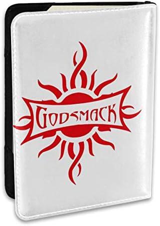 Godsmack ゴッドスマック ロゴ パスポートケース メンズ 男女兼用 パスポートカバー パスポート用カバー パスポートバッグ ポーチ 6.5インチ高級PUレザー 三つのカードケース 家族 国内海外旅行用品 多機能