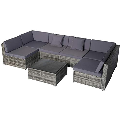 Outsunny 7-Piece Outdoor Wicker Patio Sofa Set, Modern Rattan Conversation Furniture Set with Cushions, Pillows and Tea Table, Grey