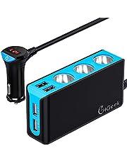 CHGeek Auto Ladegerät, 120W 12V/24V USB KFZ Ladegerät 6.8A 4 USB Ports Multi-Funktion Power Auto Adapter mit 3-Fach KFZ Zigarettenanzünder Verteiler Splitter für iPhone, Samsung, GPS und Mehr - Grau