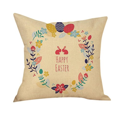 2017 Easter's Day Pillow Case,Elevin(TM)New Painting Square Cotton Cushion Cover Throw Waist Pillow Case Sofa Bedroom Home Decor Good Easter's Gift (M) (B)