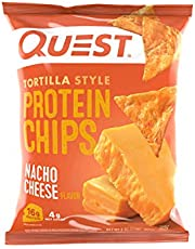 Quest Nutrition Tortilla Style Protein Chips, Nacho Cheese, Low Carb, Gluten Free, Baked, 1.1 Ounce (12 Count)
