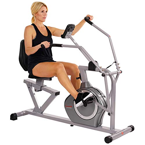 multipurpose Sunny Health  Fitness Magnetic Recumbent Bike Exercise Bike, 350lb High Weight Capacity, Cross Training, Arm Exercisers, Monitor, Pulse Rate Monitoring - SF-RB4708