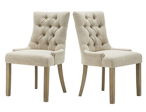 Rustic Upholstered Dining Room Chair, Century Accent Chair with Solid Wood Legs & Retro Linen Wingback, Set of 2, for Dining Room, Living Room & Patio, Low Arm Chair in Beige
