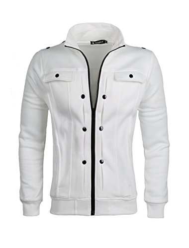 Casual Solid Stand Collar - uxcell Men Casual Solid Slim Fit Pocket Zipper Stand Collar Long Sleeve Jacket White S (US 36)