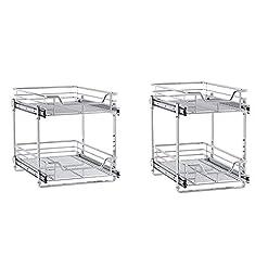 Kitchen Household Essentials C21521-1 Glidez Dual 2-Tier Sliding Cabinet Organizer, 14.5″ Wide, Chrome & C21221-1 Glidez 2-Tier Sliding Cabinet Organizer, 11.5″ Wide, Chrome pull-out organizers
