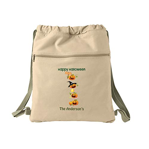 Personalized Custom Halloween Pumpkin Party Cotton Canvas Dyed Sack Backpack for $<!--$29.99-->