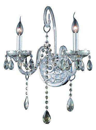 (Elegant Lighting 7952W2C-Gt/Ss Swarovski Elements Smoky Golden Teak Crystal Verona 2-Light Crystal Wall Sconce, Finished in Chrome with Smoky Golden Teak Crystals)
