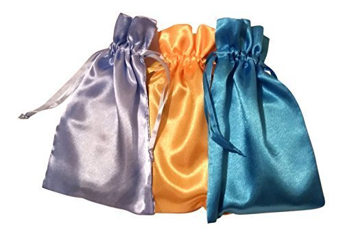 Tarot Bags: Early Summer Satin Bundle of 3: Turquoise Daffodil Yellow and Light Blue (6
