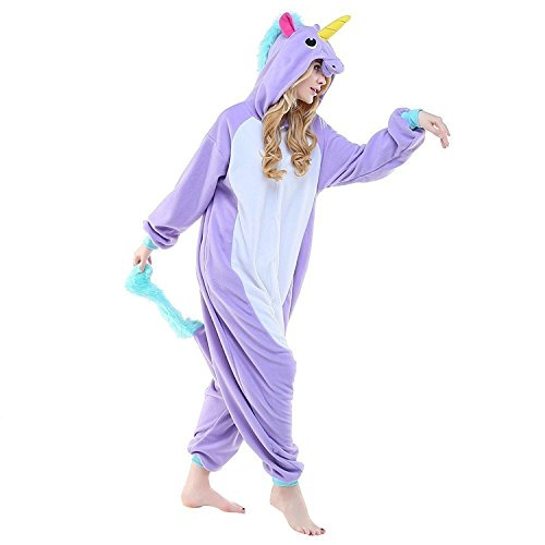 [Adult Women Men's New Purple Unicorn Onesie Pajamas Kigurumi Cosplay Costumes Animal Outfit L] (Simple Character Day Costumes)