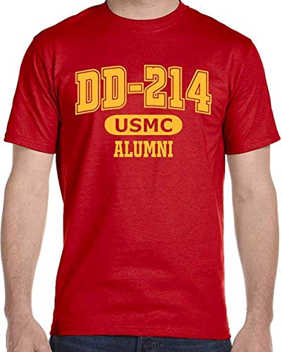 OP Quality TShirts DD-214 Alumni Red and Gold T Shirt for Proud, Brave USMC Veterans (XL)