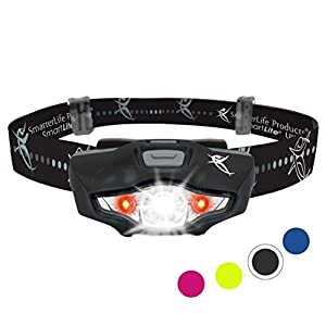 SmarterLife LED Headlamp Featuring CREE Headlight Technology - 6 White and Red Light Modes, 1 Battery, Water Resistant | Camping, Running, Hiking, Car, Backpack, Emergency Kit & Nightstand