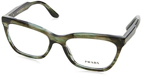 Prada Green (Prada JOURNAL PR24SV Eyeglass Frames UEP1O1-55 - Striped Grey Green PR24SV-UEP1O1-55)