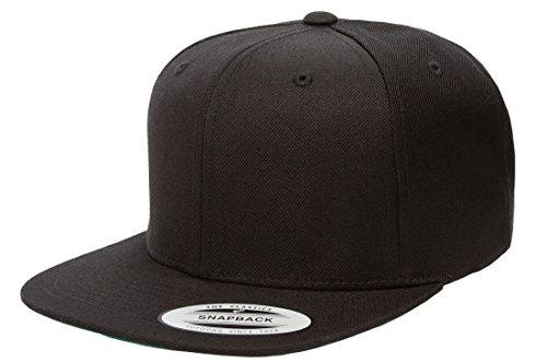 6089M Classic Snapback Pro-Style Wool Cap by Flexfit (OneSize, Black W/ Black Undervisor) - Snapback Wool