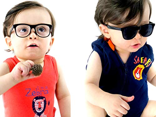 Kd3006 infant baby Toddlers Age 0~36 Months retro 80s Sunglasses (Pack of 2 Black-clear lens+Black-dark lens) ()