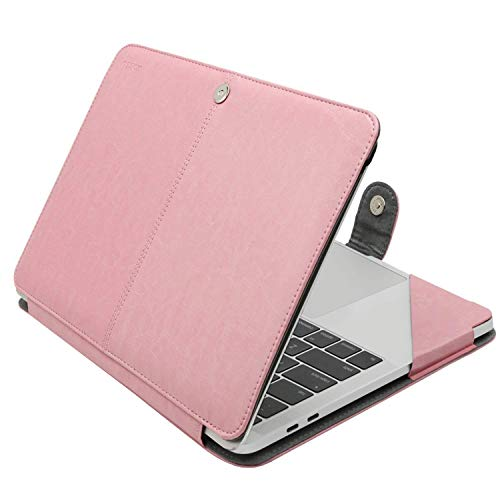MOSISO Case Compatible with 2020-2018 MacBook Air 13 A2337 M1 A2179 A1932/2020-2016 MacBook Pro 13 A2338 M1 A2251 A2289 A2159 A1989 A1706 A1708, PU Leather Folio Protective Stand Cover, Rose Quartz