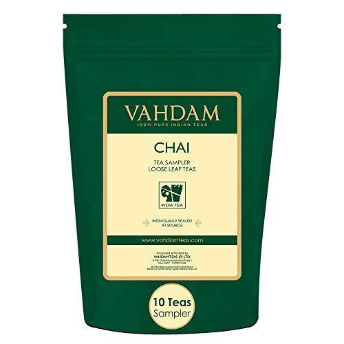 - VAHDAM, Chai Tea Sampler - 10 TEAS, 50 Servings | 100% NATURAL SPICES | India's Original Masala Chai Teas | Brew Hot, Iced or Chai Latte | Tea Variety Pack & Tea Gift Set - Chai Tea Loose Leaf, 3.53oz