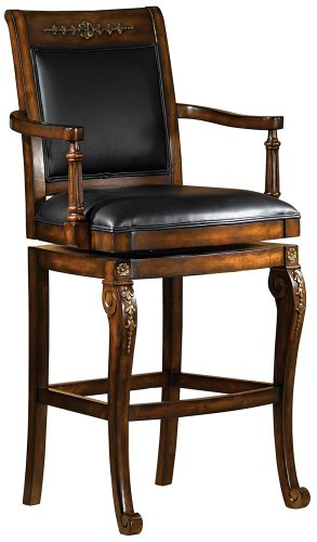 Hillsdale Furniture Wood Swivel Counter Stool with Scrolled Feet and Faux Leather Seat – Douglas Counter Height