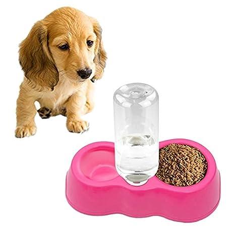 XUJW-MASCOTA, Plato de Comida de Gato para Perros + Agua Potable Cuencos Dobles