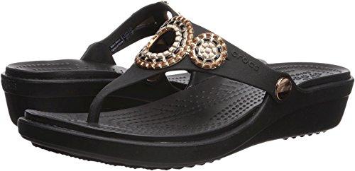 (Crocs Women's Sanrah Diamante Wedge Flip W Sandal, Black/Rose Gold 8 M)