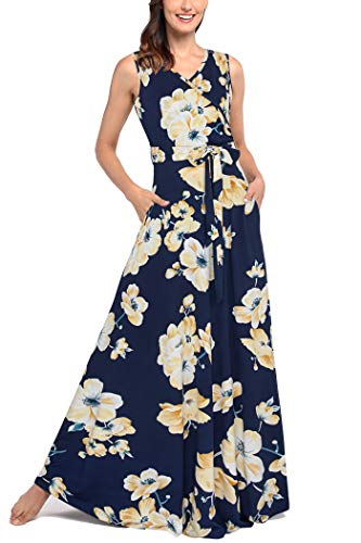 Comila Maxi Women Petite Navy, Fashion Modesty Floral Printed Long Dress V Neck Crossover Top Tropical Temperatures Vestidos De Mujer Casual Pockets Navy S US(4/6)