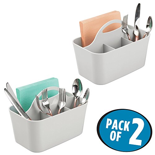 mDesign Plastic Cutlery Storage Organizer Caddy Bin – Tote with Handle – Kitchen Cabinet or Pantry – Basket Organizer for Forks, Knives, Spoons, Napkins – Indoor or Outdoor Use – 2 Pack, Light Gray
