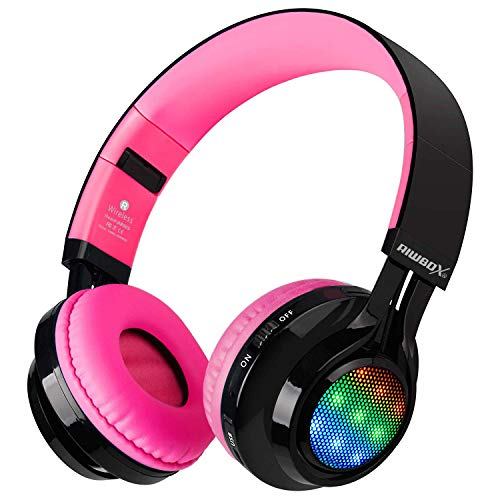 (Bluetooth Headset, Riwbox AB005 Wireless Headphones 5.0 with Microphone Foldable Headphones with TF Card FM Radio and LED Light for Cellphones and All Bluetooth Enabled Devices (Black&Pink) )