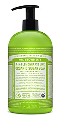 Dr. Bronner's Organic Lemongrass Lime Sugar Soap. 4-in-1 Organic Pump Soap for Home and Body (24 oz) from Dr. Bronner's