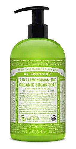 Dr. Bronner's Organic Lemongrass Lime Sugar Soap. 4-in-1 Organic Pump Soap for Home and Body (24 oz)