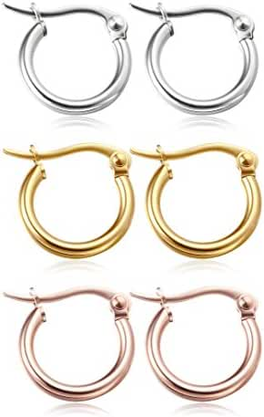 Jstyle 3-4 Pairs Stainless Steel Hoop Earrings for Women Huggie Hypoallergenic 10MM-50MM
