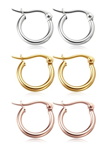 Jstyle Jewelry Stainless Steel Hoop Earrings for Women Huggie 3 Pairs a Set 12MM