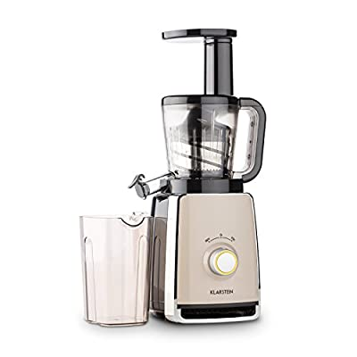 KLARSTEIN Sweetheart Slow Masticating Juicer • 150W • Fruit & Vegetable Juice Extractor • 32 RPM for Gentle Pressing • Stainless Steel Micro Filter • Two Containers with 32 fl oz. Capacity • Start-Stop Protection • Black