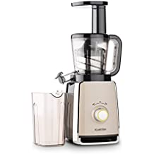 KLARSTEIN Sweetheart Slow Masticating Juicer • 150W • Fruit & Vegetable Juice Extractor • Stainless Steel • Two Containers with 32 fl oz. Capacity • Start-Stop Protection • Black