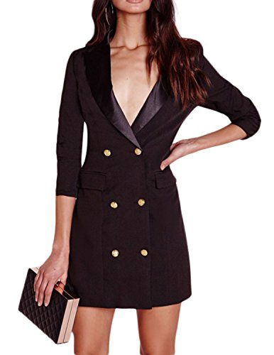 - ASMAX HaoDuoYi Women Fashion Sexy Deep V Neck Solid Color Long Sleeve Button End Blazer Black