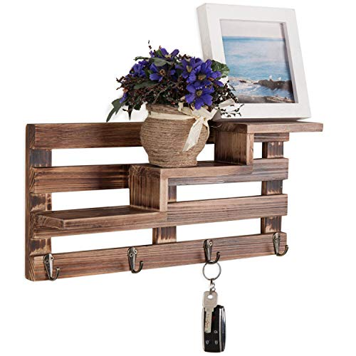 (MyGift Rustic Wall-Mounted Entryway Burnt Wood Display Shelf with 4 Key Hooks)