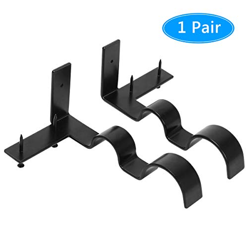 Coitak 1 Pair Curtain Rod Holders Set Double Curtain Rod Brackets No Drilling Tap Right into Window Frame for 2 Rods, Adjustable Curtain Rod Brackets
