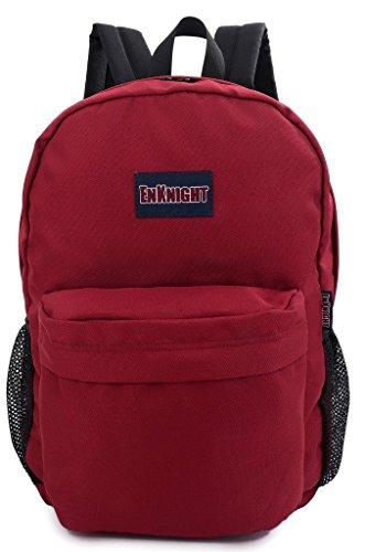 ENKNIGHT Casual School College Backpacks Laptop Bag Schoolbags Daypack Dark Red