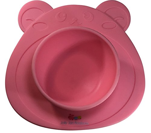 Bear High Chair (Babies Silicone Highchair Feeding Tray - Suction Bear Bowl or Car Placemat - Dinner Table BPA FREE Silicon - Children, Kids, Toddlers, Infants, Baby, & Pets - by Jolly Jon Products (Pink Bear Bowl))