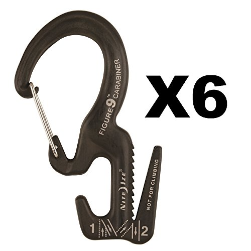 Nite Ize Figure 9 Carabiner Small Rope Tightener Aluminum Tie Down Tool (6-Pack) by Nite Ize