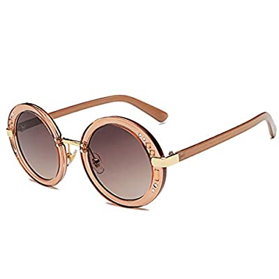 Small Rhinestone Round Sunglasses Women Retro Crystal Circle Clear Lens Sun Glasses Coating Shades OM403