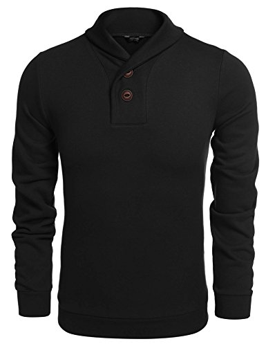 Long Pullover Mens Sleeve - Coofandy Men's Casual Shawl Collar Sweater Long Sleeve Pullover, Black, L
