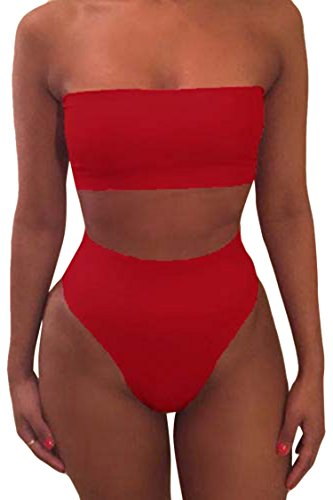 Pink Queen Women's Removable Strap Wrap High Waist Bikini Set Swimsuit Rose ()