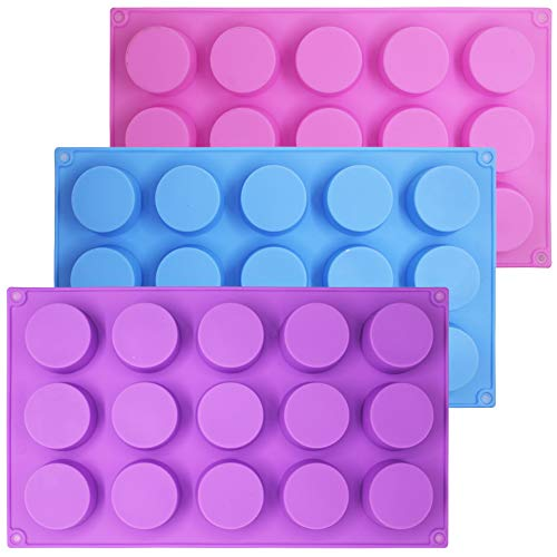 SENHAI 3 Pcs 15 Holes Cylinder Silicone Molds For Making Chocolate Candy Soap Muffin Cupcake Brownie Cake Pudding Baking Cookie - Purple Blue Pink