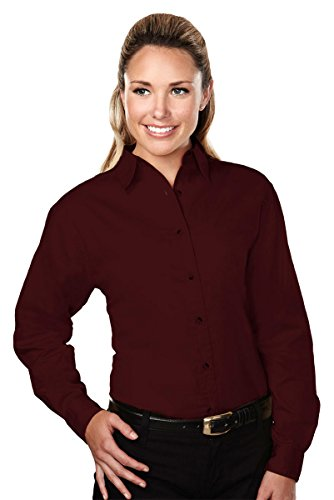 (Tri-mountain Womens 60/40 stain resistant long sleeve twill shirt. 762 - DARK)