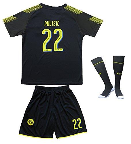 2017/2018 Borrusia Dortmund BVB Away #22 Christian PULISIC Football Futbol Soccer Kids Jersey Shorts Socks Set Youth Sizes