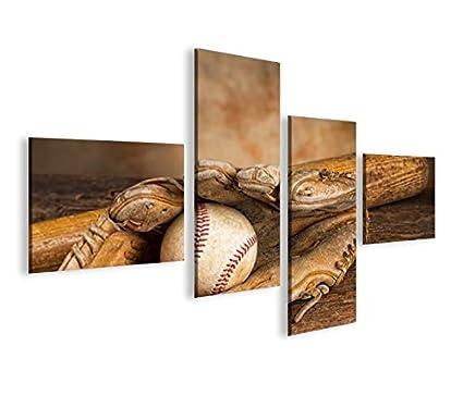 Quadro moderno Béisbol 4LP Impresión sobre lienzo - Quadro X ...
