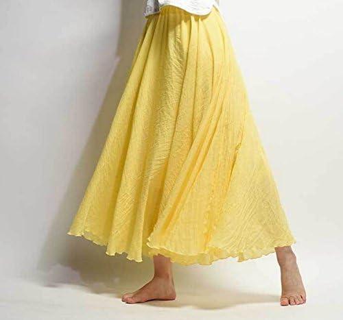 Jellbaby Falda de algodón y lino de estilo étnico con faldas y faldas de color sólido, Amarillo, 85 cm: Amazon.es: Hogar
