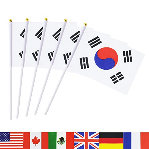 TSMD South Korea Stick Flag, 50 Pack Hand Held Small Korean National Flags On Stick,International World Country Stick Flags Banners,Party Decorations for World Cup,Sports Clubs,Festival Events